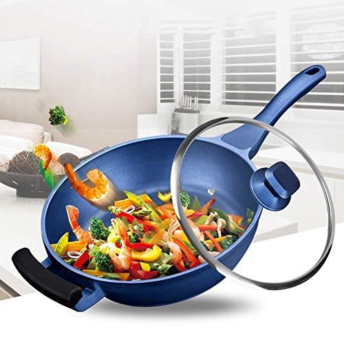 Omrörningspanna non-stick wokpanna med lock, aluminium, med silikonhandtagshjälp, lämplig för induktionshällar, blå stekpanna (storlek: 28 cm)