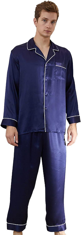 Men's Silk Long-Sleeved Pajamas Set 19 m 100% Soft Mulberry Silk Luxury Models