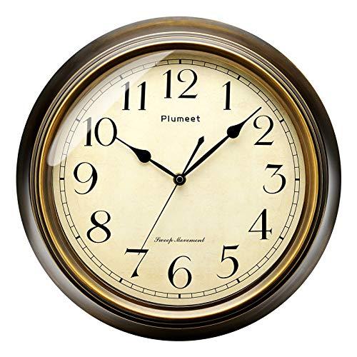 Plumeet Reloj de Pared Retro Grande - Reloj Silencioso Clásico sin Tic-TAC de 33 cm - Adecuado para Decorar Sala, Dormitorio, Oficina - Alimentado por Batería (Numerales arábigos)