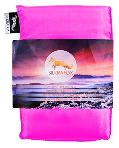 Silkrafox, Sacco a Pelo Ultraleggero in Seta Artificiale, Sacco Lenzuolo, Rosa Fucsia