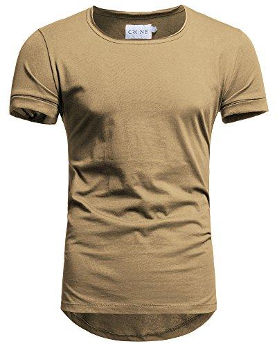 Crone Herren Kurzarm Rundhals Basic Oversize Slim Fit T-Shirt in vielen Farben (L, Sand)