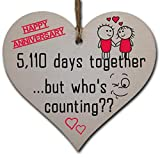 Handmade Wooden Hanging Heart Plaque Gift to Celebrate 14th Wedding Anniversary Husband Wife Someone Special Keepsake