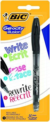 BIC Gelocity Illusion - Blíster de 1 bolígrafo gel borrable, color negro