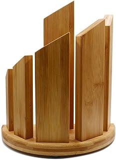 DUDDP Cuisine Porte-couteau Bambou naturel magnétique vertical Porte-couteau, bloc à couteaux setKitchen multifonctions co...