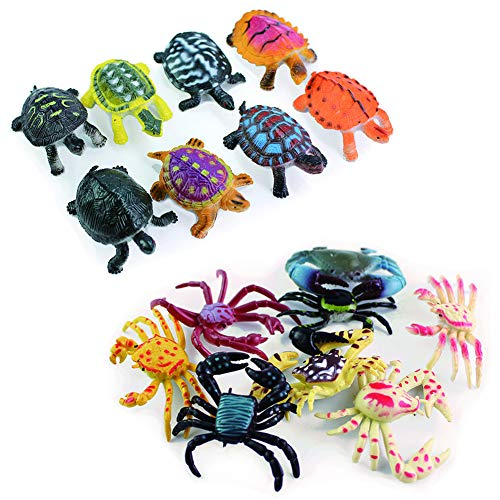 MAOMIA 16 Pcs Realistic Sea Turtle&Crab Toy, Fake Ocean Tortoise Figurines Playset for Party Favor Fish Tank Decoration