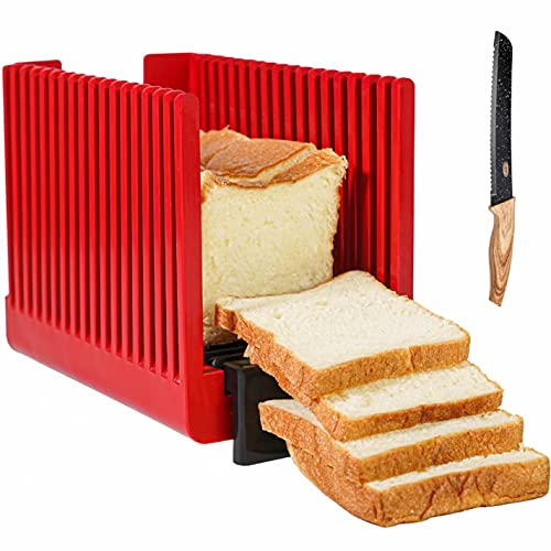 Bread Slicer Foldable, Heavy Duty Cutting Guide, Cut Uniform Bread Slices, Dishwasher Safe, Compact, Great for Bagels, Cake, Roast Beef, Knife Included