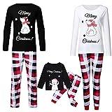 Surfiiy Pijama Familia Navidad Set Adulto Padre Disfraz Paternidad T Camiseta y Pantalón Hombre Navidad Muñeco de nieve Impresión de letras Camisetas Hombre Negro  L