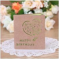 Zhangzidong 5ピース良い折りたたみクラフト紙グリーティングカード最高の願いお誕生日おめでとう祝福グリーティングメッセージカードイベント&パーティー用品-8