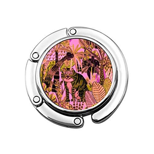 Monedero Gancho Animal de Dibujos Animados Tigre Lindo, Colgador de Bolso Rosa Monedero portátil Contador Mujeres