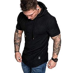 Men's Fashion Athletic Hoodies Sport Sweatshirt Solid Color Fleece Pullover