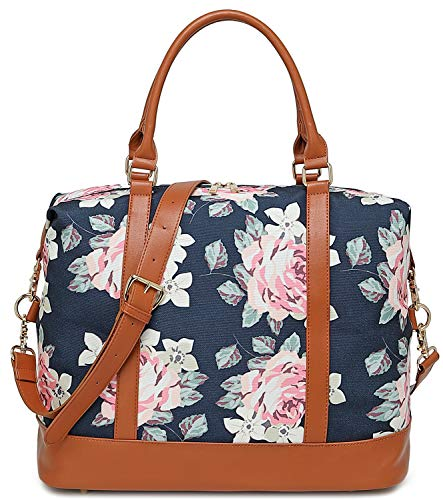 Women Ladies Weekender Bag Overnight Carry-on Tote Duffel in Trolley Handle (Flower-Blue)