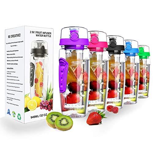 34 Oz Water Bottle - Water Fruit Infuser Bottle, BPA-Free Fruit Infusion Sports Bottle Flip Top Lid w Drinking Spout, Leak Proof Water Bottle, Made of Durable Tritan
