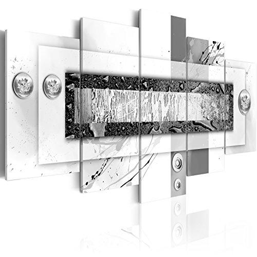 murando Acrylglasbild Abstrakt 200x100 cm 5 Teilig Wandbild auf Acryl Glas Bilder Kunstdruck Moderne Wanddekoration - Textur schwarz weiß Farbflecken a-C-0031-k-m