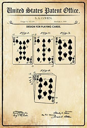 FS Patent ontwerp voor een kaartspel metalen bord gebogen metalen teken 20 x 30 cm