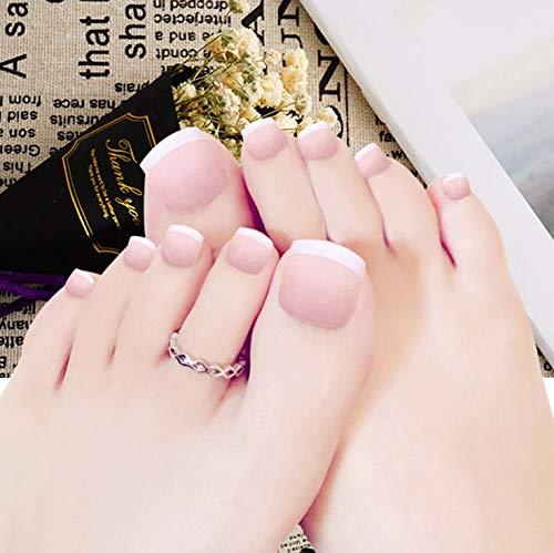 Yean Quadratische gefälschte französische Zehennägel Glänzende nackte falsche Fußnägel Weiß Vollabdeckung Mode Künstliche Zehenkunst Nagelspitzen für Frauen und Mädchen