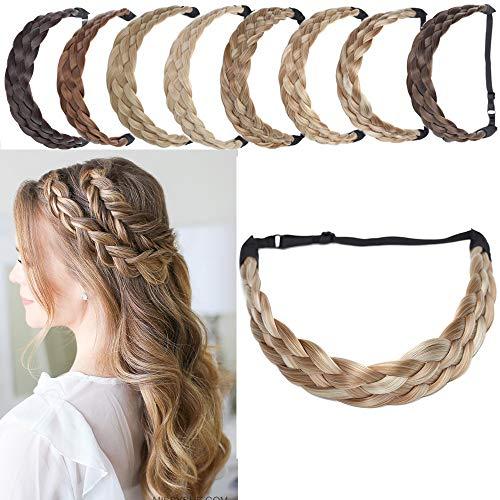SEGO Bande Tressé Cheveux [5 Brins Largeur: 3.8cm] Ruban Stretch Bandeau Femme Élastique Postiche Synthetique Pièce Twist Fibres Flexible