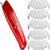 Heavy-Duty Retractable Utility Knife with Comfort Grip and 6 Spare Blades - Hook Tip Style. Nearly Indestructible, USA-Made Quality Steel Handle Fits any 2 Notch Style Blades.