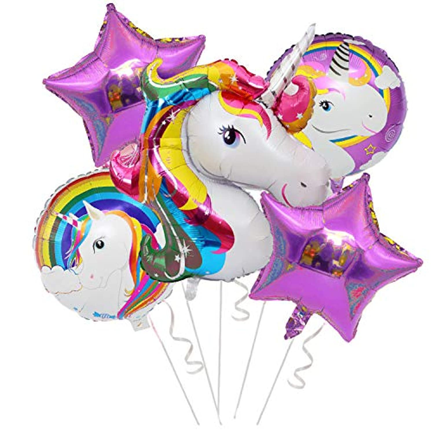 LBH Magical Unicorn Bouquet of Balloons,Unicorn Party Decorations Party Supplies-Colorful Balloons Unicorn Theme Party Pack - 1 Big Unicorn, 2 Stars, and Round Unicorn Balloons … (Multicolor)