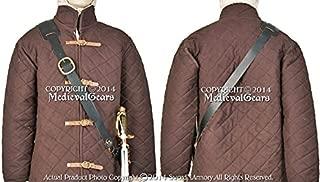 Medieval Gears Brand Medieval Renaissance Genuine Leather Waist Shoulder Sword Belt Frog Hanger LARP