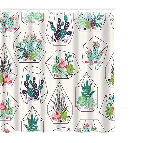 Hoomall Duschvorhang 180x180cm Anti-schimmel Badezimmer Deko wasserdichte Waschbar Shower Curtain mit 12 Ringe 3D Grün Pflanzen (Hellgrün)
