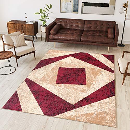 TAPISO Dream Tappeto Soggiorno Salotto Moderno Beige Rosso Geometrico Quadrato A Pelo Corto 200 x 300 cm