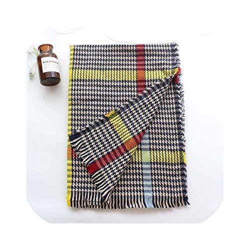 HONEY BEAR Damen Schal/Poncho/Schal aus Kaschmir für Hahnentrittmuster Gr. Einheitsgröße, Regenbogenblau