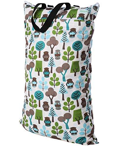 Wegreeco Reusable Hanging Wet Dry Cloth Diaper Bag (Owl)