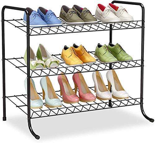 A-Generic Shoemaker con 3 Niveles, Color Gris y Negro, Metal, Zapatero, Organizador de Zapatos, para salón, vestidor,-Negro