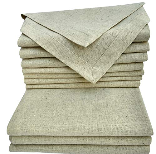 Linen Clubs Cloth Dinner Napkins Set of 12 Pieces, in Natural Rustic Color Flax by Flax (30% Linen,70% Cotton) Fabric with One Inch Decorative Selvage & Mitered Corner Finish Offered