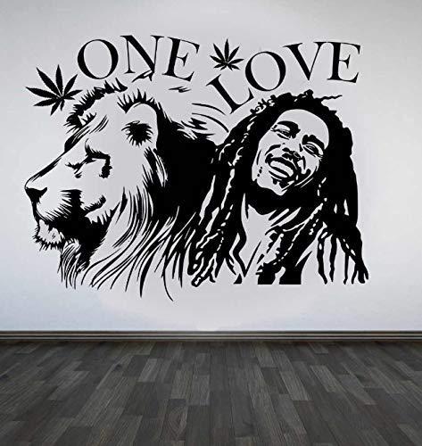 Wandaufkleber Bob Marley Löwe Zion Liebe Cannabis Zitat Abnehmbares Vinyl Poster Home Art Design Dekoration 57 * 75Cm