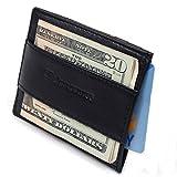 Alpine Swiss Genuine Leather Super Thin Slim Cash Strap Front Pocket Wallet Black