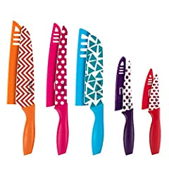 10-Piece Value Colored Knife Set:The knife set includes: 8 inch chef knife, 7 inch santoku knife, 8 inch slice knife, 5.5 inch utility knife and 3.5 inch paring knife, each knife includes a blade cover. The knife sets for kitchen provides best perfor...