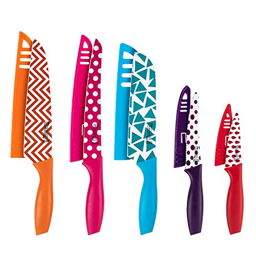 MICHELANGELO Kitchen Knife Set 10 Piece, Knife Sets for kitchen, High Carbon Stainless Steel Kitchen Knife Set, Colored Kitchen Knifes Set- 5 Knives & 5 Knife Sheath Covers