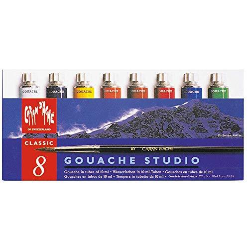 Caran D'Ache Tinta Guache Studio 8 Cores Tubos, 08 Cores