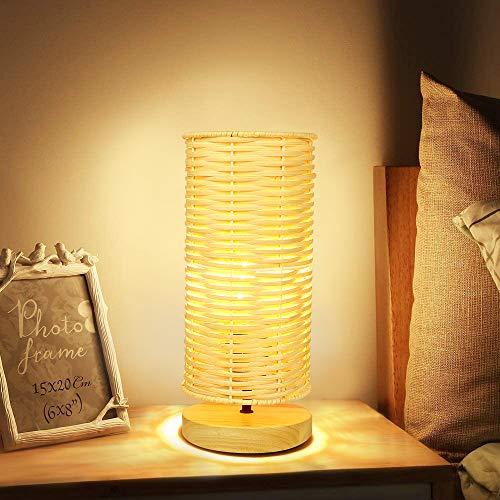 Depuley Lámpara de mesa de estilo retro con pantalla de bambú, lámpara de mesa de madera y ratán, máx. 40 W, casquillo E14, lámpara de escritorio para casa de té, dormitorio, bombilla incluida
