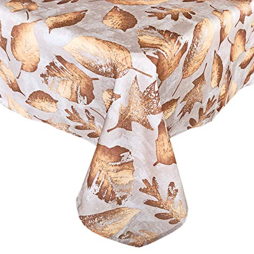Metallic Foliage Contemporary Autumn and Thanksgiving Fabric Tablecloth, Golden Metallic Leaf Print, Soil Resistant, No Iron Easy Care Tablecloth, 60 Inch x 102 Inch Oblong/Rectangle, Taupe