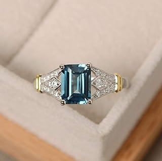 MAIHAO MAIHAO Fashion Ring Aquamarine Gemstone Ring Elegant Women 925 Silver Wedding Rings Emerald Cut Birthstone Ring Siz...