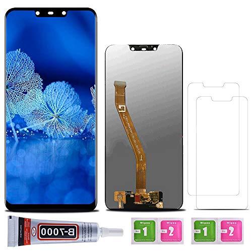 SHANCHU Schermo Huawei Mate 20 Lite, LCD Digitizer + vetro touch assemblato, sostituzione compatibile con Huawei Mate 20 Lite con vetro temperato [Set di 2] + colla B-7000