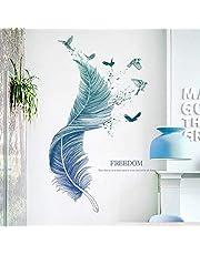 WandSticker4U® - Muurstickers veren in blauw I Wandafbeeldingen: 124 × 72 cm I Muurtattoo Woonkamer moderne spreuken vogel I Wanddecoratie voor keuken slaapkamer badkamer hal meubels stickers groot