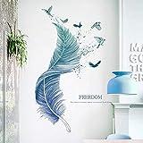 WandSticker4U®- Wandtattoo FEDER blau I Wandbilder: