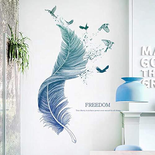 WandSticker4U®- Wandtattoo FEDER blau I Wandbilder: 124×72cm I Wand Deko Wohnzimmer modern Vogel Aufkleber I Wandsticker für Schlafzimmer Küche Bad Flur Möbel Poster GROß