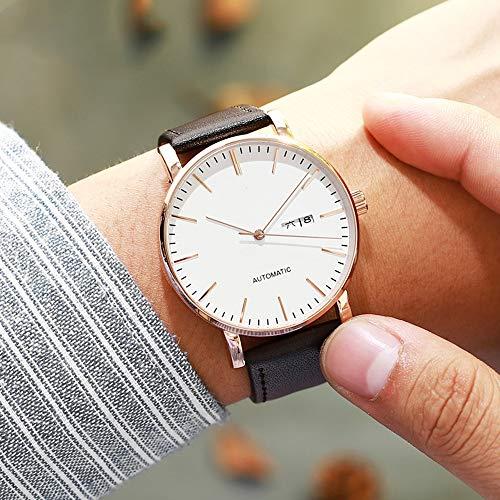 Kuan-Watchs Ultradünne mechanische Uhr, wasserdichte Herrenuhr mit Kalender- / Wochenanzeige, vollautomatische mechanische Uhr, alltagstauglich,C