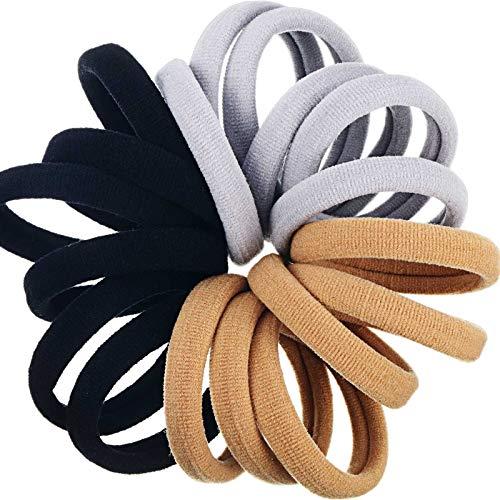 18 Stück Haargummis Baumwolle Haarbänder Elastische Haarseile Dehnbare Starke Haarbänder Pferdeschwanz Halter für Dickes und Lockiges Haar Frauen Mädchen, Schwarz, Braun und Grau