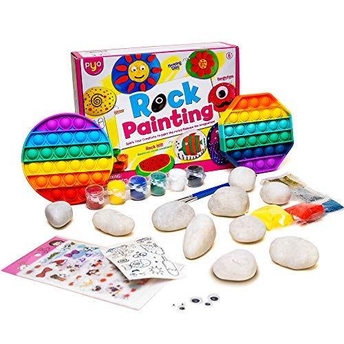 Rock Painting Kit for Kids, Arts and Crafts for Girls Boys, DIY Supplies for Painting Rocks, Ideas for Kids Painting Gifts Family Activity Birthday Present