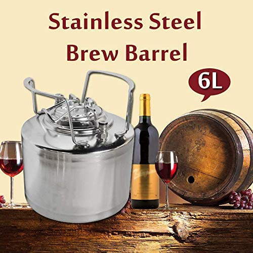 SISHUINIANHUA 6L de Acero Inoxidable Ball Lock Barril de Cerveza Growler presurizado para Sistema de dispensador de Cerveza Artesanal Home Brew Beer Brewing Handle de Metal