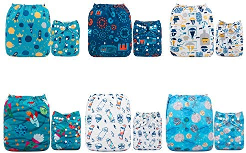 ALVABABY Baby Cloth Diapers One Size Adjustable Washable Reusable for Baby Girls and Boys 6 Pack + 12 Inserts