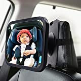 Baby Car Mirror, 2 Pack Large Safety Car Seat Mirror, Baby Car Seat Mirror for Rear Facing Infant Child with Wide Crystal Clear View, Rear View Mirror to See Rear Facing Infants, Babies, Kids