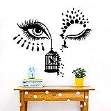 Lindo salón de maquillaje jaula de pájaros etiqueta de la pared tienda de pestañas maquillaje belleza vinilo tatuajes de pared decoración56x49cm