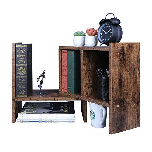 OROPY Verstellbarer Schreibtischregal, kleines Bücherregal, Retrostil, Tisch-Organizer, Multifunktionär und Freistehend zum Aufstellen auf Schreibtisch/in Büro, Wohnzimmer, Schlafzimmer