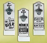 Wand - Bierflaschenöffner mit witzigem Spruch MDF 30x10cm Geschenk Dekoration (Bier kalt stellen...)